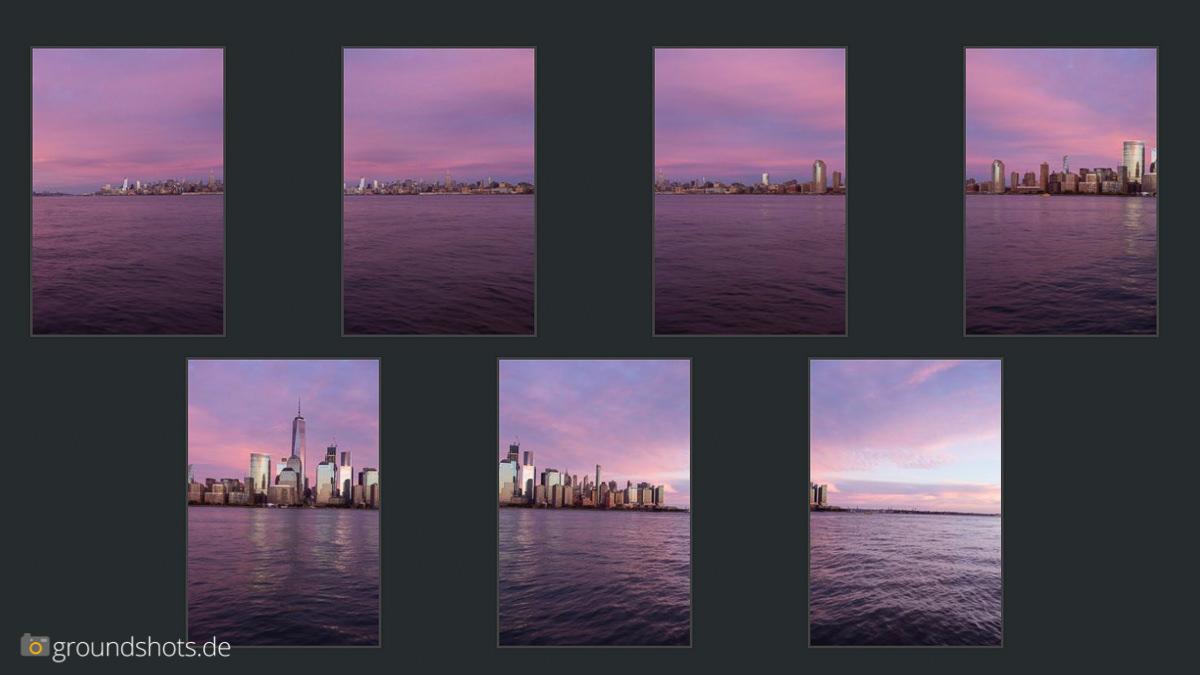 Die sieben Ausgangsbilder fuer das Panorama
