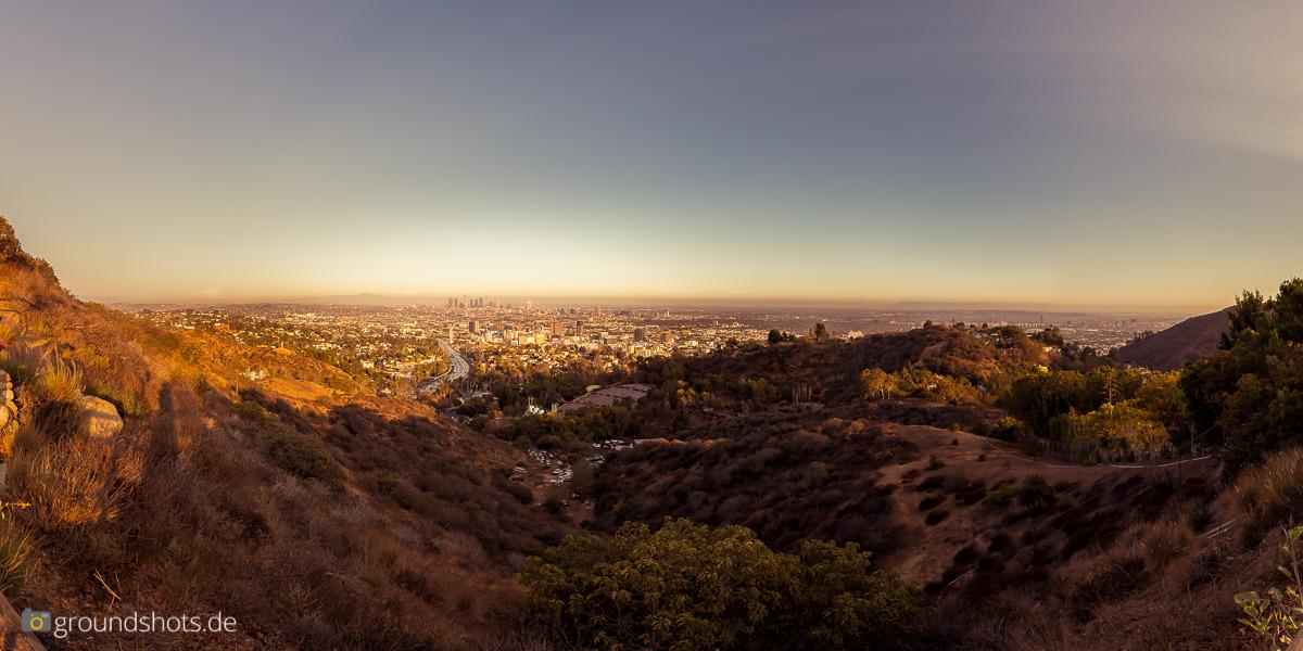 Blick auf Downtown Los Angeles in der Abendsonne