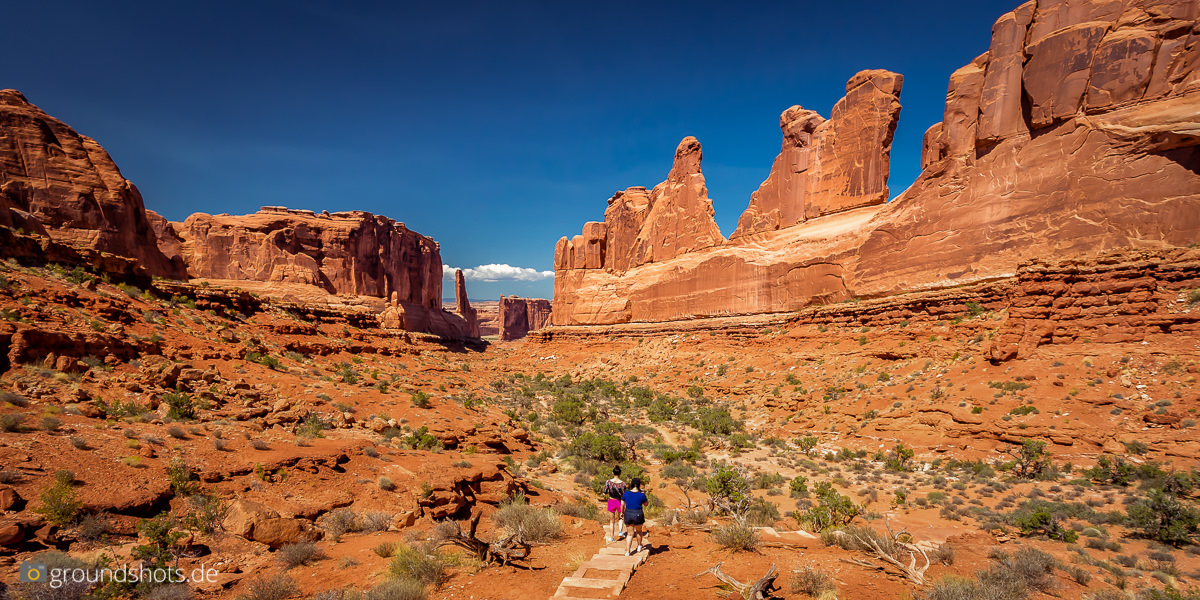 Blick vom Park Avenue Overview im Arches Nationalpark