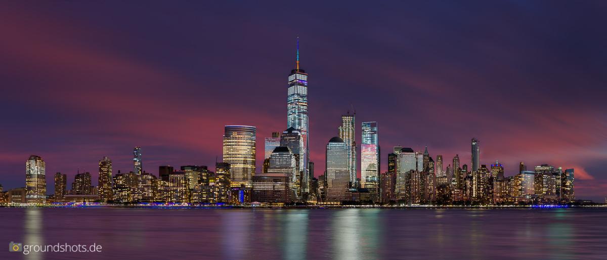 Die Skyline von Lower Manhattan