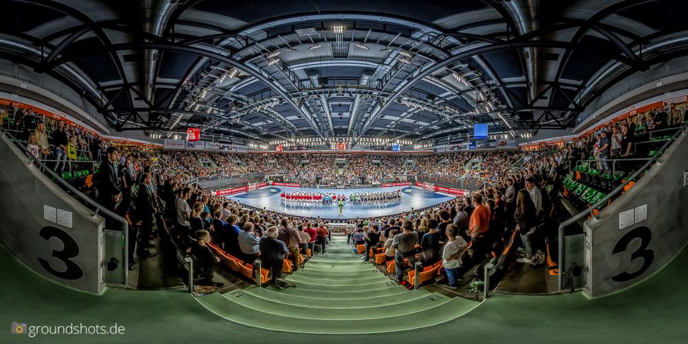 Panorama Laenderspiel Deutschland - Schweiz in der Ratiopharm Arena