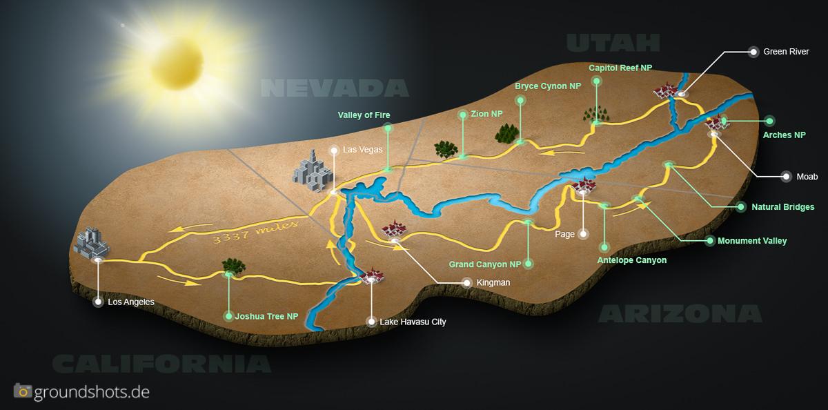 Unsere Route fuer den 3-Wochen-Road-Trip durch den Suedwesten der USA